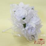 Сватбен букет за булка от сатенени рози и лилиуми